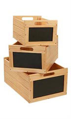 Nesting Natural Wood Chalkboard Crates