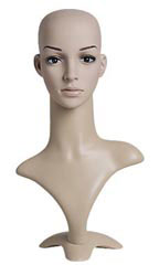 "Female Plastic Mannequin Head With Base - 19""H"
