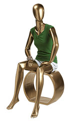 Gold Female Sitting Fiberglass Mannequin