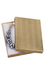 "Gold Embossed Cotton Filled Jewelry Boxes - 5¼"" x 3¾"" x 7/8"" - Case of 100"