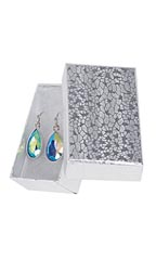 "Silver Embossed Cotton Filled Jewelry Boxes - 2 ½"" x 1 ½"" x 7/8"" - Case of 100"