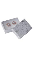"Silver Embossed Cotton Filled Jewelry Boxes - 3 1/16"" x 2 1/8"" x 1"" - Case of 100"