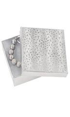 3 ½  x 3 ½  x 1 inch Cotton Filled Silver Embossed Jewelry Boxes