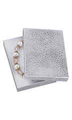 5 ¼ x 3 ¾ x 7/8 Cotton Filled Silver Embossed Jewelry Boxes