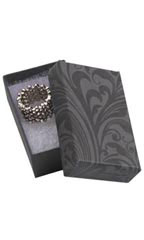 "Elegant Swirl Cotton Filled Jewelry Boxes - 2 ½"" x 1 ½"" x ⅞"" - Case of 100"
