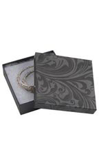 "Elegant Swirl Cotton Filled Jewelry Boxes - 3 ½"" x 3 ½"" x 1""- Case of 100"