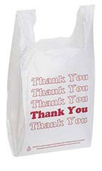 White Thank You Plastic T-Shirt Bags - Case of 1,000