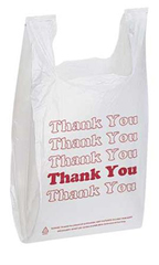 White Thank You Plastic T-Shirt Bags – Case of 500