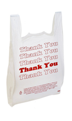 Large White Thank You Plastic T-Shirt Bags - Case of 500