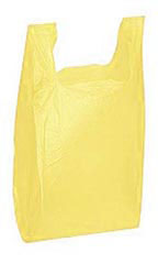 Medium Yellow Plastic T-Shirt Bags - Case of 1,000