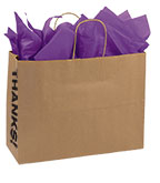 Large Kraft Thanks! Gusset Paper Shopping Bags - Case of 250