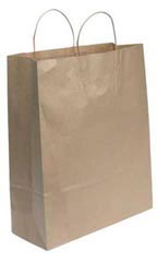 Jumbo Natural Kraft Paper Shopping Bags - Case of 200