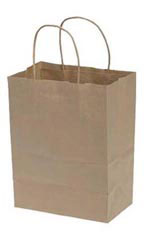 Medium Natural Kraft Paper Shopping Bags - Case of 100
