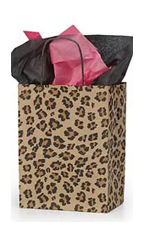 Medium Brown Leopard Paper Shopping Bags - Case of 100