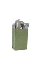 Small Metallic Sage Paper Shopping Bags - Case of 100