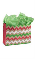 Large Christmas Chevron Paper Shopping Bags - Case of 25