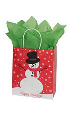 Medium Holiday Snowman Paper Shopping Bags