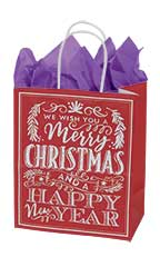 Medium Red Modern Christmas Chalkboard Paper Shopping Bags - Case of 100