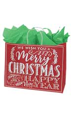 Large Red Modern Christmas Chalkboard Paper Shopping Bag - Case of 25