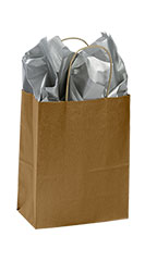 Medium Metallic Gold Paper Shopping Bags - Case of 100