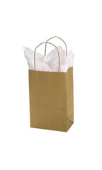Small Metallic Gold Paper Shopping Bags - Case of 100