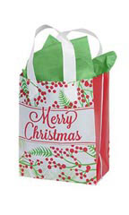 Medium Holly Christmas Frosted Shopping Bags