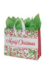 Large Holly Christmas Frosted Shopping Bags