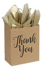 Medium Kraft Thank You Paper Shopping Bags - Case of 100