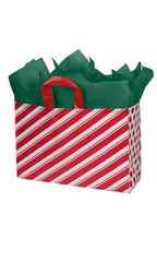 Large Peppermint Stripes Frosted Shopping Bags