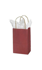 Small Brick Red Kraft Paper Shopping Bags - Case of 100