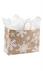 Large Giant Snowflake Paper Shopping Bags - Case of 100