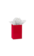 Small Glossy Red Paper Shopping Bags - Case of 100
