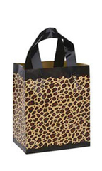 8 x 5 x 10 inch Leopard Frosted Plastic Shopping Bags - Case of 100