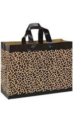 Large Leopard Frosted Plastic Shopping Bags - Case of 100