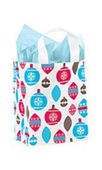 Medium Holiday Ornaments Frosted Shopping Bags - Case of 25