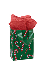Small Dancing Candy Cane Plastic Frosted Shopper