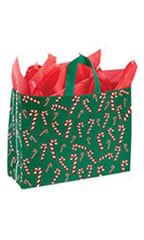 Large Dancing Candy Cane Plastic Frosted Shopping Bags - Case of 25