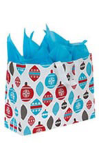 Large Holiday Ornaments Frosted Shopping Bags - Case of 100