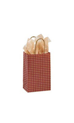 Small Red Gingham Paper Shopping Bags - Case of 25