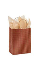 Medium Red Gingham Paper Shopping Bags - Case of 25