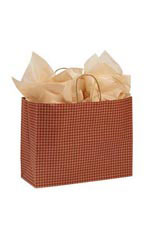 Large Red Gingham Paper Shopping Bags - Case of 100