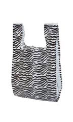 Small Zebra Print Plastic T-Shirt Bags - Case of 1,000