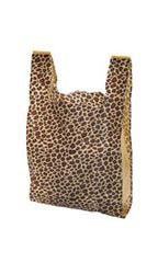 Medium Leopard Print Plastic T-Shirt Bags - Case of 500