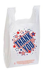 Americana Thank You Plastic T-Shirt Bags - Case of 500