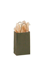 Small Green Gingham Paper Bags - Case of 100