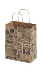 Medium Newsprint Paper Shopping Bags - Case of 25