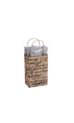 Small Paris Script Paper Bags - Case of 25