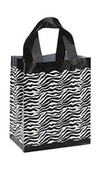 Medium Zebra Plastic Shopping Bags - Case of 25