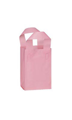 Small Pink Frosted Plastic Shopping Bags - Case of 25