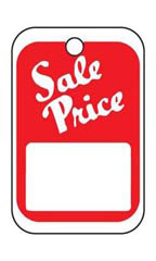 Unstrung Red/White Sale Price Non-Perforated Tags  - Case of 1,000